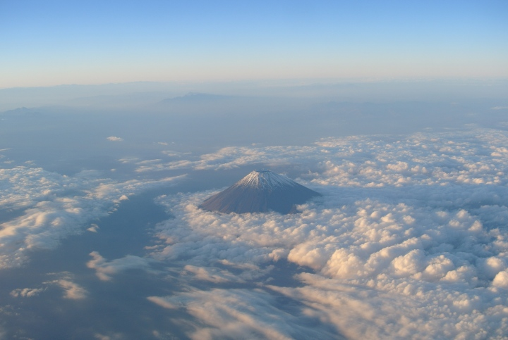 View of Mt Fuji from airplane (autumn)